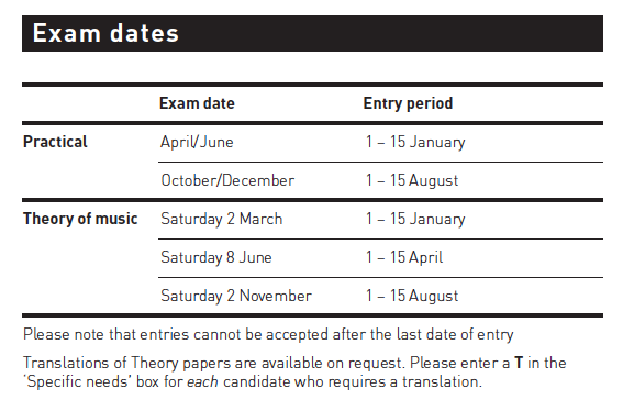 Image Result For Abrsm Music Theory Grade Dates